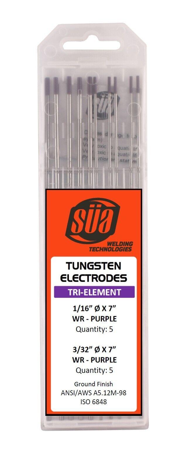 "10 PACK Tri-Element Tungsten Electrode SÜA 1//16/"" x 7/"" TIG Purple Tip -"