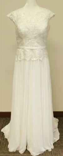 Illusion Lace and Chiffon A-Line Soft White Wedding Dress Size 12 (40-30-37)