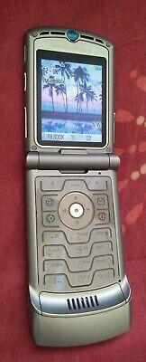 Motorola RAZR V3 Silver Classic Unlocked Mobile Flip Phone