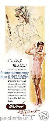 Warner´s Legant Reklame 1941 ! Unterwäsche BH Mieder Kleid Biedermeier Decollete