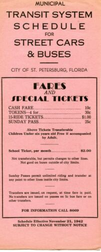 1942 St. Petersburg Municipal Transit System Schedule for Street Cars & Buses