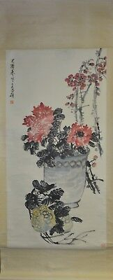 Vintage Chinese Watercolor FLOWER AND FRUIT Wall Hanging Scroll Painting - Painting Scroll Wall Hanging Flower
