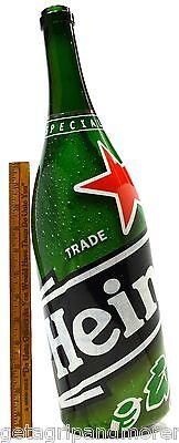"Special Edition HEINEKEN BOTTLE Huge 19"" Tall LABEL Over GREEN GLASS 3-Liter HTF"