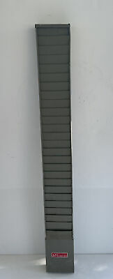 Vintage Latham Time Card Holder Wall 25 Slot Rack Gray Metal Industrial Office