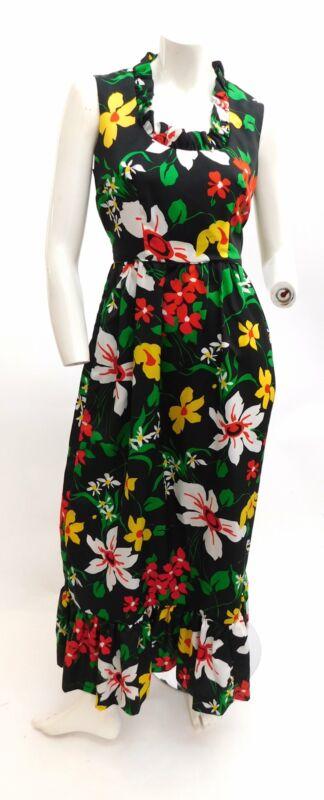 Vintage 1970s Hawaiian floral maxi dress