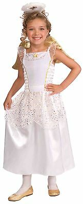 Girls Deluxe Angel Costume Wings Fancy Dress Halo Princess White Halloween NEW
