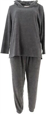 Stan Herman Petite Cozy Loop Terry Lounge Set Charcoal PM NEW A368214 Loop Terry Lounge Pant