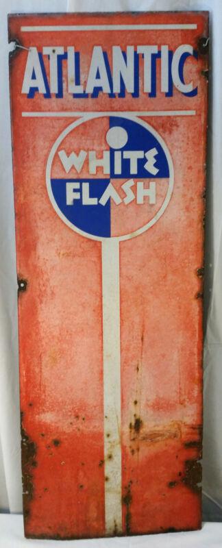 "Atlantic White Flash gas pump sign gas station 42""X15"" man cave garage Porcelain"