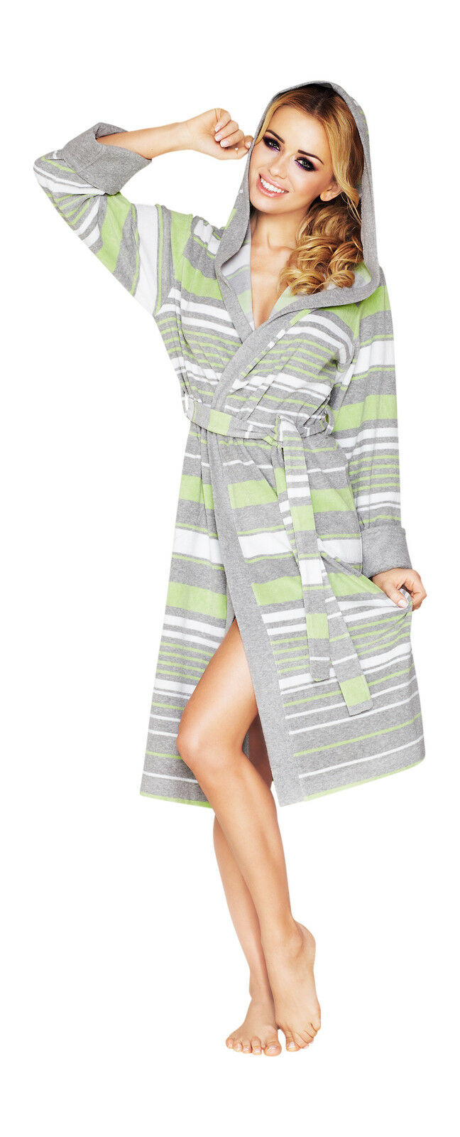 Women s Luxury SOFT Cotton Bath Robe Housecoat Dressing Gown Bathrobe with  Hood a030620393af