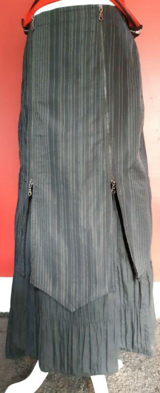 Vintage 90s unique Goth Long Skirt Black Pinstriped Size M
