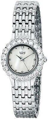 NEW Burgi BUR107SS Women's Gorgeous Baguette Crystals Silver Pearl Dial Watch