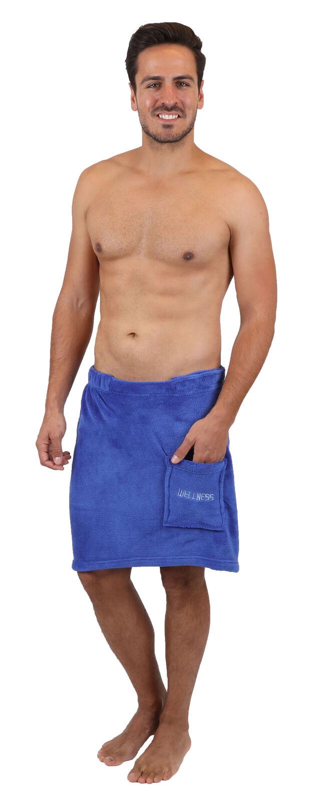 Betz Saunakilt Herren Sauna Handtuch Sarong Kilt Tasche Klettverschluß Blau