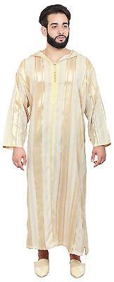 Moroccan Men Djellaba Hooded Caftan Kaftan Thobe Abaya Handmade Arab Beige