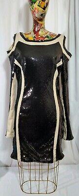 Luxxel Black Sequin/nude Cocktail Dress. Large Black Sequin Cocktail