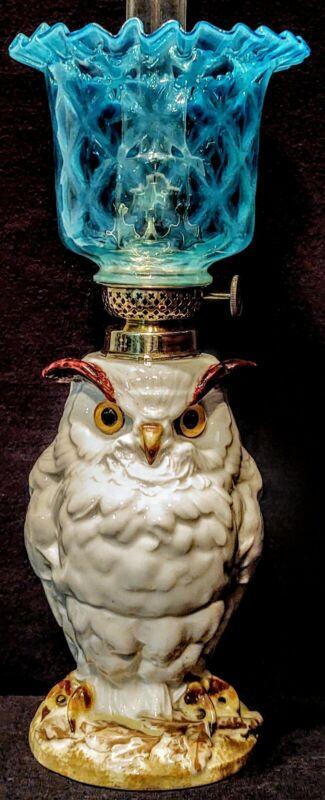 Porcelain Owl Miniature Oil Lamp FRENCH  Depose