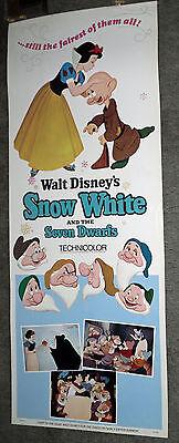 SNOW WHITE AND THE SEVEN DWARFS original ROLLED 14x36 insert movie poster DISNEY