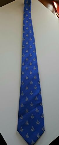 MASONIC BLUE NECKTIE WITH SQUARE AND COMPASS in Silver
