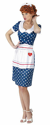 Tv Themed Costumes (I Love Lucy Sassy Adult Womens Costume Tv Theme Party Polka Dot Dress Maid)