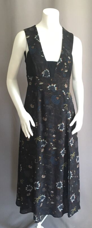 A.L.C. Black FLORAL Print quilted MIDI DRESS Size S