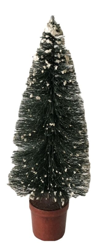 "Antique German Putz Bottle Brush Snow Flocked Red Base 8 1/2"" Christmas Tree #1"