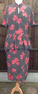 Vintage Peplum Dress by Sidgreen Executive 14 Beautiful Funky Floral Print VGC
