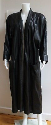 80S ANN TAYLOR SMOOTH, SOFT, FULL-LENGTH BLACK LEATHER SWING COAT. BLUE LABEL