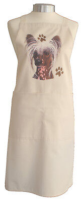 Chinese Crested Breed of Dog Quality Cotton Apron Double Pockets Baker Cook Gift