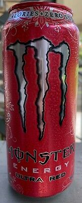 NEW MONSTER ENERGY ULTRA RED DRINK 16 FL OZ FULL CAN ZERO SUGAR & CALORIES BUYIT
