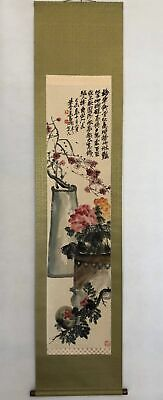 Vintage Antique Ancient art Chinese painting Wu Changshuo From Japan