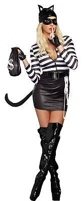 achsene Damen Kostüm Kitty Überführen Dieb Sexy Halloween (Erwachsene Kitty Katze Kostüm)