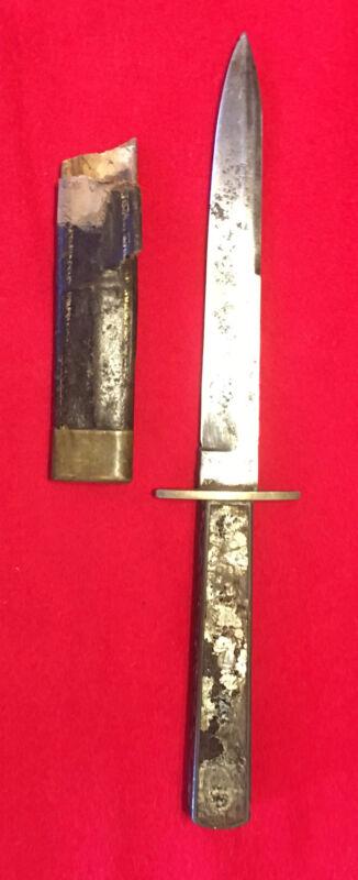 Civil War Era Spearpoint Bowie Knife, U Star S- Edward Barnes Stamp, Sheath part