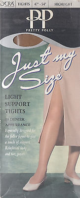 """PRETTY POLLY - JUST MY SIZE - LIGHT SUPPORT TIGHTS - 47""""-54"""" - (BRAND NEW)"""
