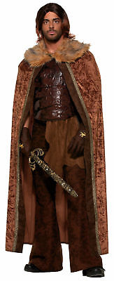 Medieval Men Brown Cape Cloak Adult Halloween King Prince Costume Fun Fur Collar