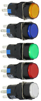 16mm Round 5-pin Push Button Blue Green Red White Yellow 12- 220v Led Acdc