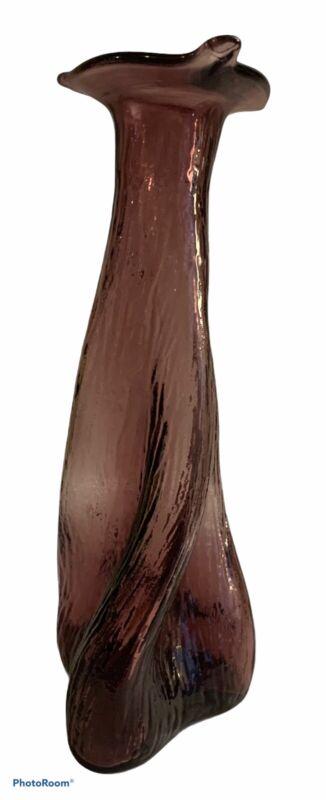 Vintage MCM Amethyst Purple Glass Undulating Bark Biomorphic Vase Bottle