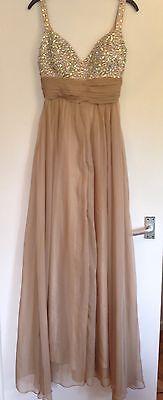 BNWOT Ladies La Femme Caramel Jewel Floaty Full Length Eve Prom Dress Size 6-8? for sale  Shipping to Ireland