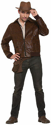 Men's 1940's Brown Bomber Jacket Faux Leather Adult Standard Size