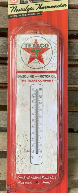 Retro TEXACO GAS Indoor Outdoor metal tin Thermometer vtg throwback repro red