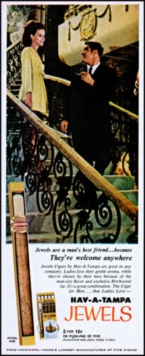 1970 Hav-A-Tampa Jewels Cigars woman man staircase retro photo print ad L83