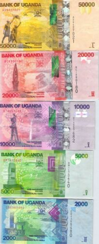 Uganda Full Shillings Set 1-50 K - 6 Banknotes - Combine Shipping Charge Free