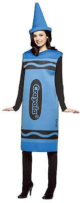 Erwachsene Crayola Blau Farbstift Tunika & Hut Kostüm GRÖSSE S/M - Crayola Kostüm