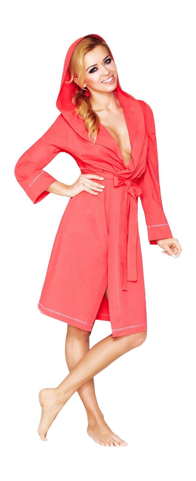 c081adec33 New Womens Lightweight Bath Robe Housecoat Dressing Gown Bathrobe with Hood