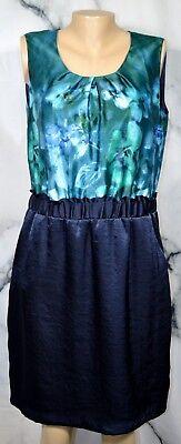 KELLY BY CLINTON KELLY Blue Green Sleeveless Dress Medium Elastic Bag Waist