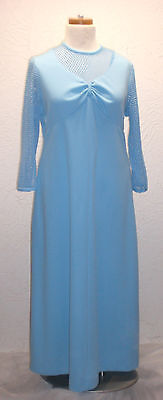 Vintage 60s 70s Maxi Formal Empire Waist Gown Waffle Long Sleeves Polyester Blue