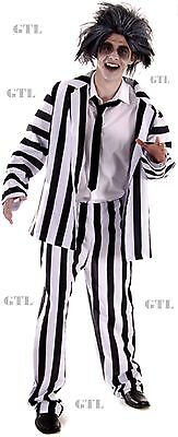 CRAZY GHOST ADULT MEN'S SCARY STRIPY HALLOWEEN HORROR XMAS FANCY DRESS COSTUME