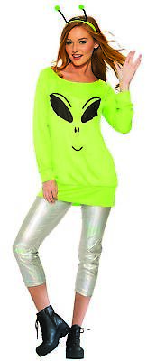 Spaced Out Alien Casual Adult Women's Costume Cosmic UFO Extra-Terrestrial STD - Alien Costumes For Women