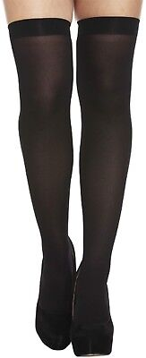 Black Plain Hold Ups Stockings Fancy Dress Dressing Up Halloween Costume Outfit