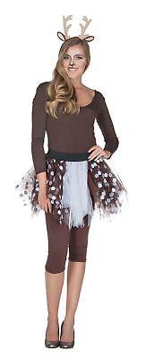 Kostüm Petticoat Tüllrock Reh Rehkitz braun/weiß Karneval Fasching