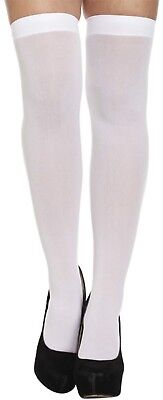 White Plain Hold Ups Stockings Fancy Dress Dressing Up Halloween Costume Outfit (Plain Halloween Kostüme)