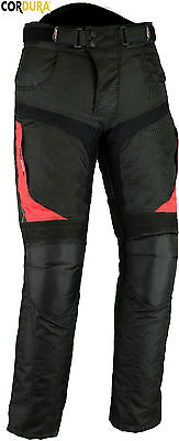 RED / BLACK MENS CORDURA VENTED CE ARMOUR MOTORBIKE  MOTORCYCLE TEXTILE TROUSERS